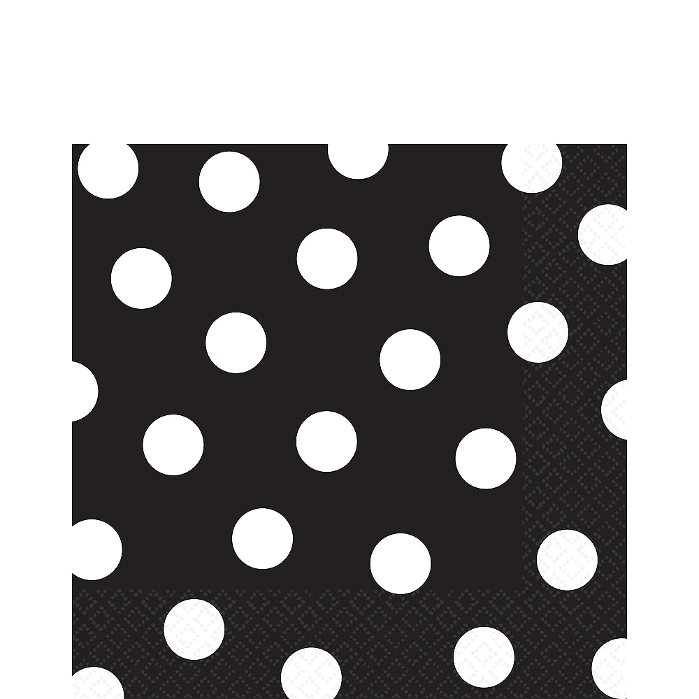 Black Polka Dot Lunch Napkins 16ct Image #1