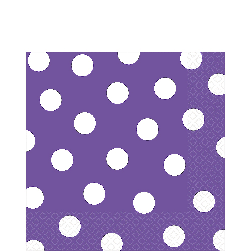 Purple Polka Dot Lunch Napkins 16ct Image #1