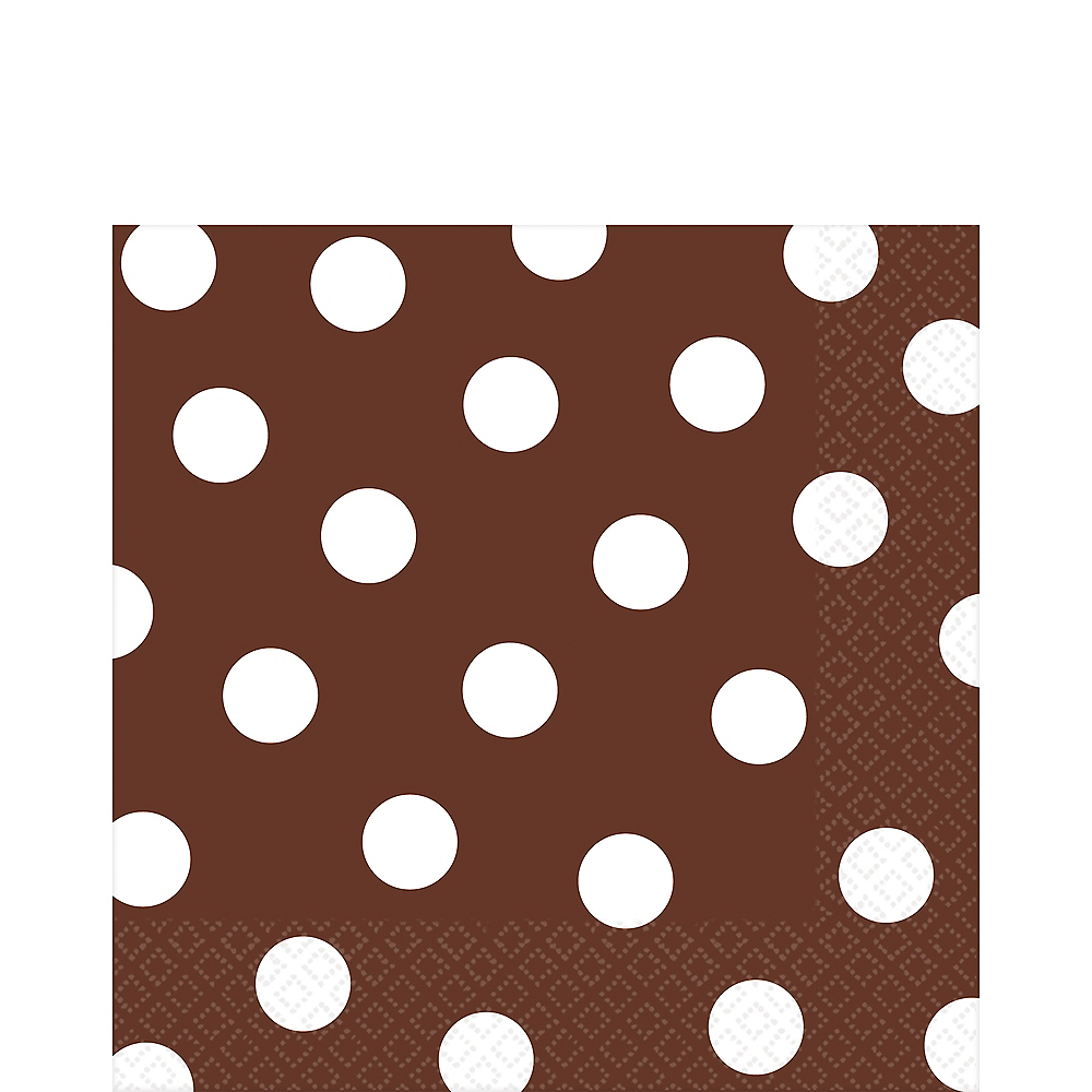 Chocolate Brown Polka Dot Lunch Napkins 16ct Image #1