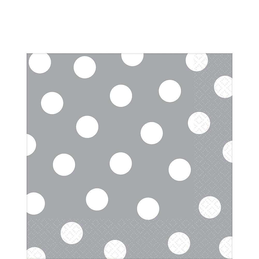 Silver Polka Dot Lunch Napkins 16ct Image #1