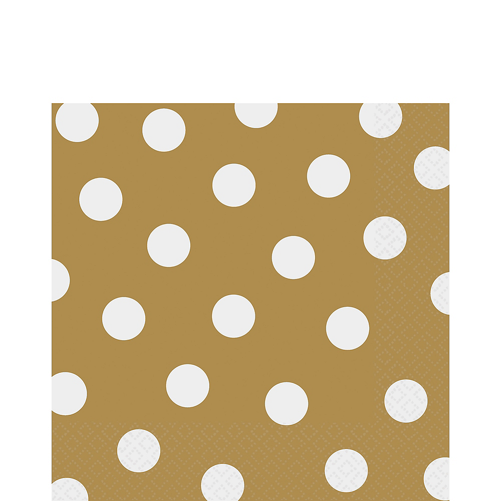 Gold Polka Dot Lunch Napkins 16ct Image #1