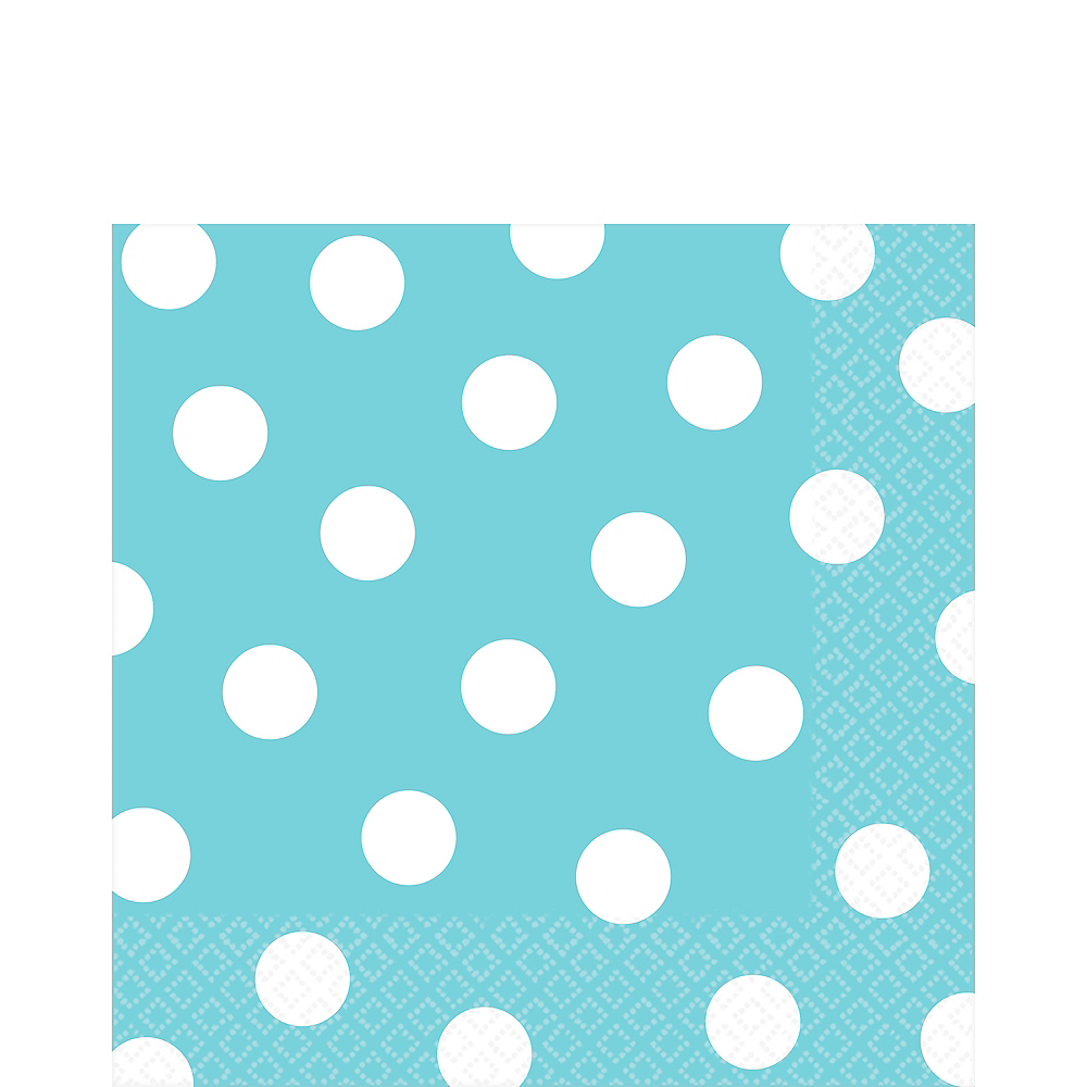 Caribbean Blue Polka Dot Lunch Napkins 16ct Image #1