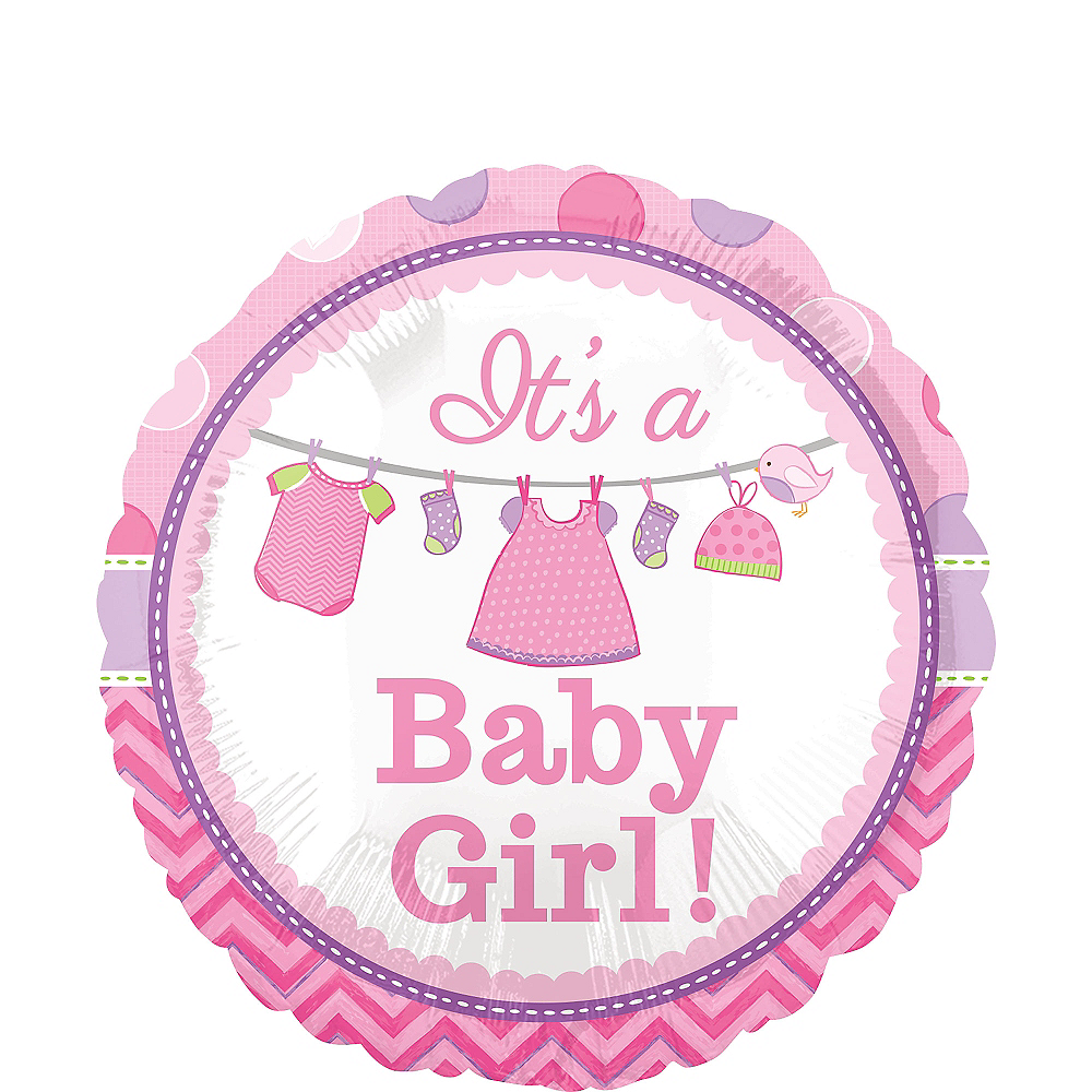 Girl Baby Shower Balloon - Shower with Love, 17in Image #1