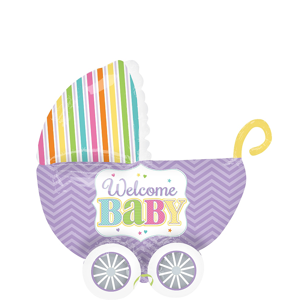 Pastel Rainbow Chevron Welcome Baby Carriage Balloon -32in x 30in 3D Image #1