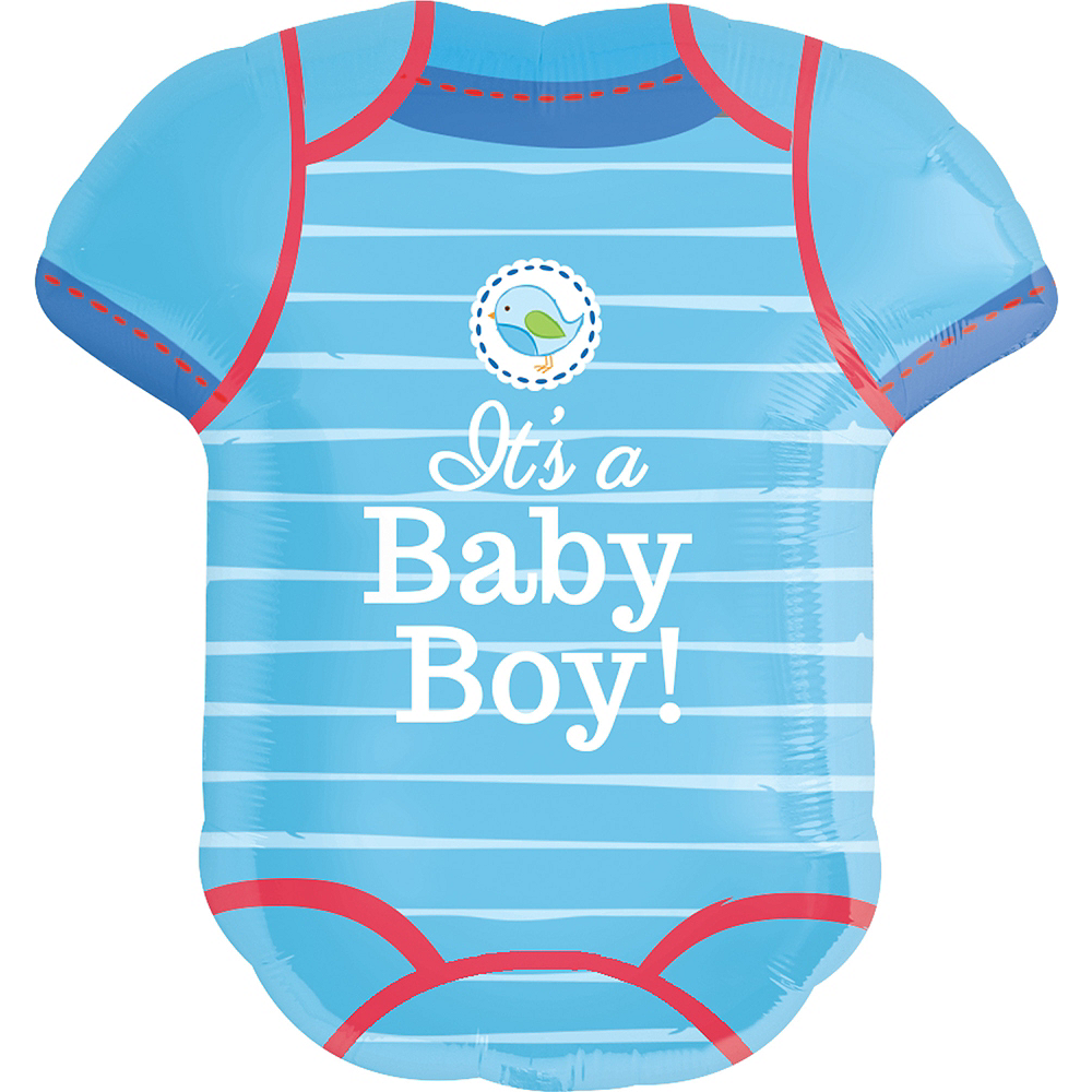 Boy Baby Shower Balloon - Shower With Love Bodysuit 22in x 24in Image #1