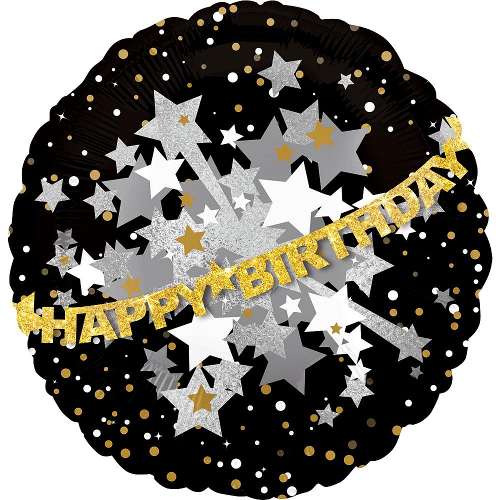 Happy Birthday Balloon - Prismatic Black, Gold & Silver 31in Image #1