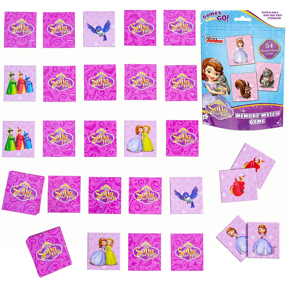 sofia the first memory match game bag party city