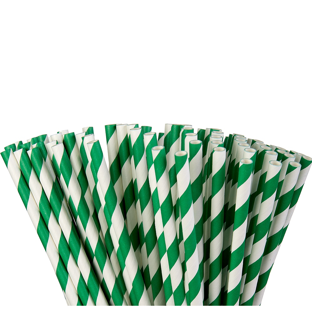 Nav Item for Festive Green Striped Paper Straws 80ct Image #1