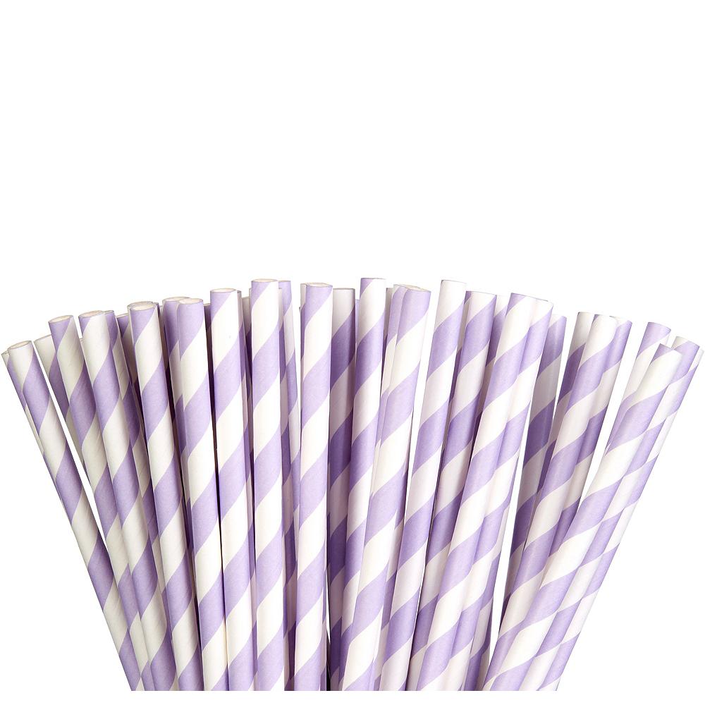 Lavender Striped Paper Straws 80ct Image #1