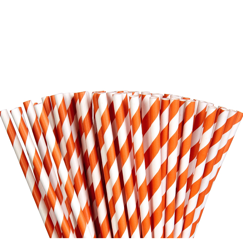Orange Striped Paper Straws 80ct Image #1