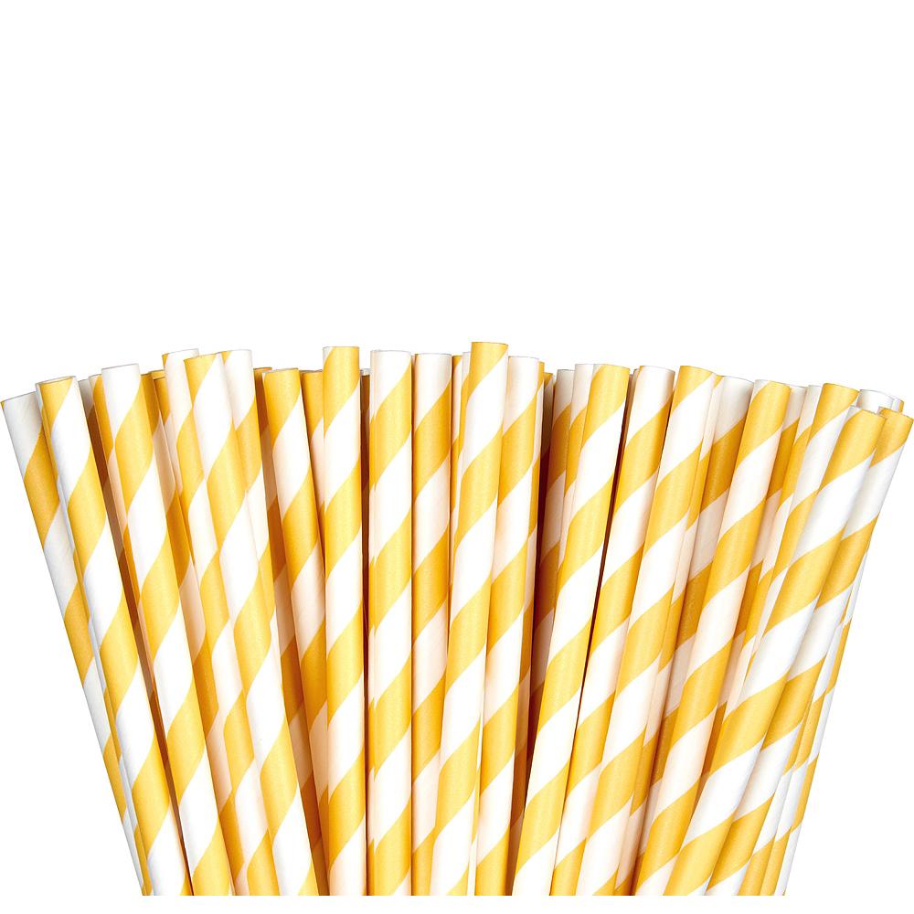 Sunshine Yellow Striped Paper Straws 80ct Image #1