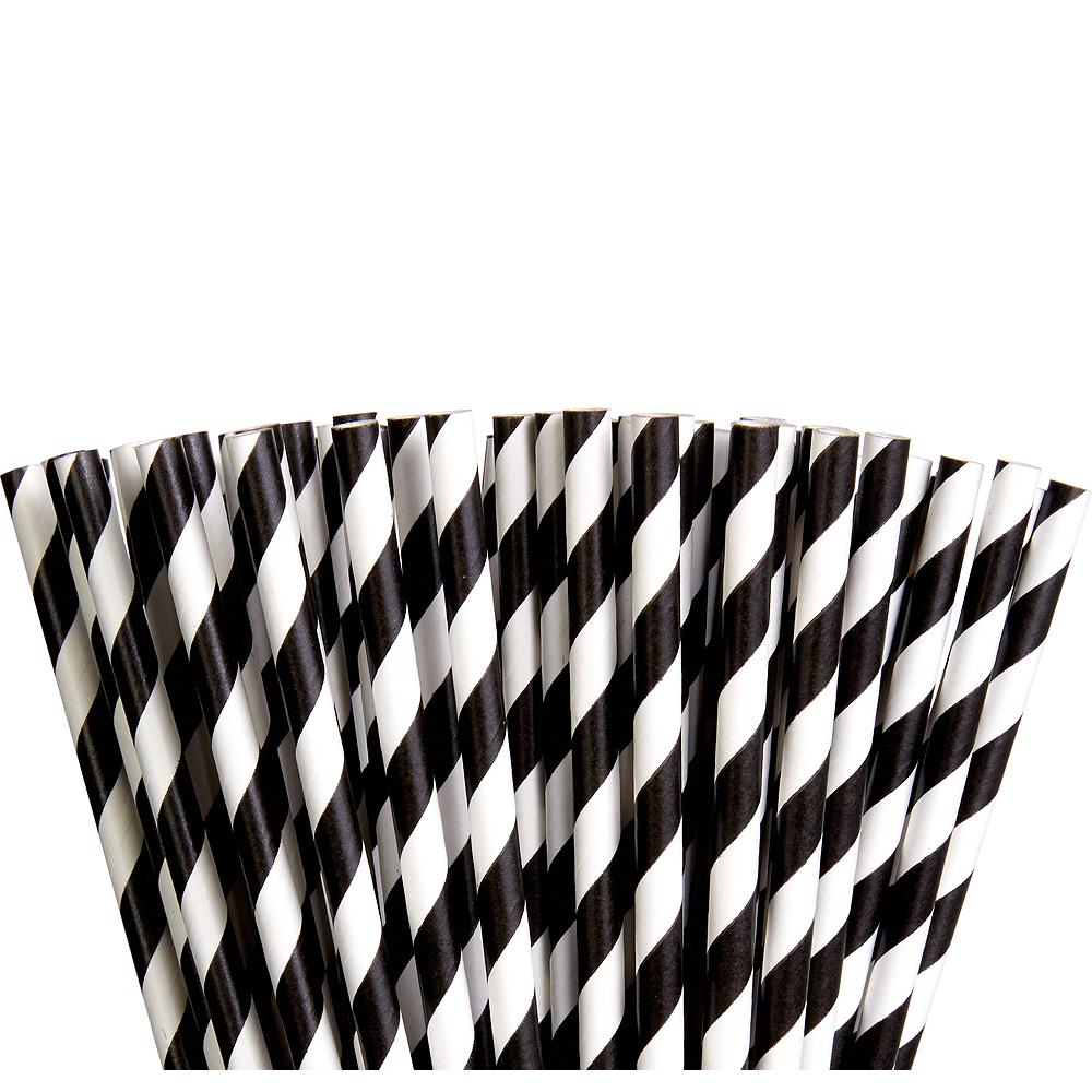Black Striped Paper Straws 80ct Image #1