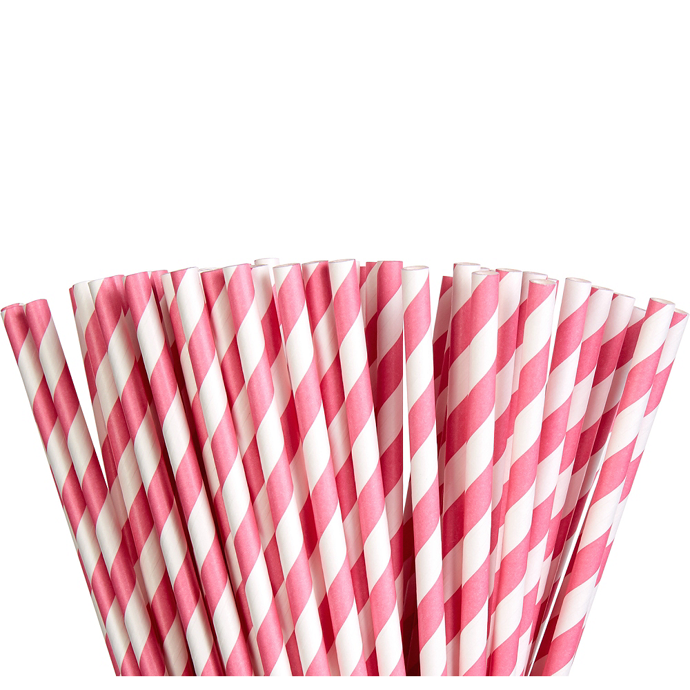 Bright Pink Striped Paper Straws 80ct Image #1