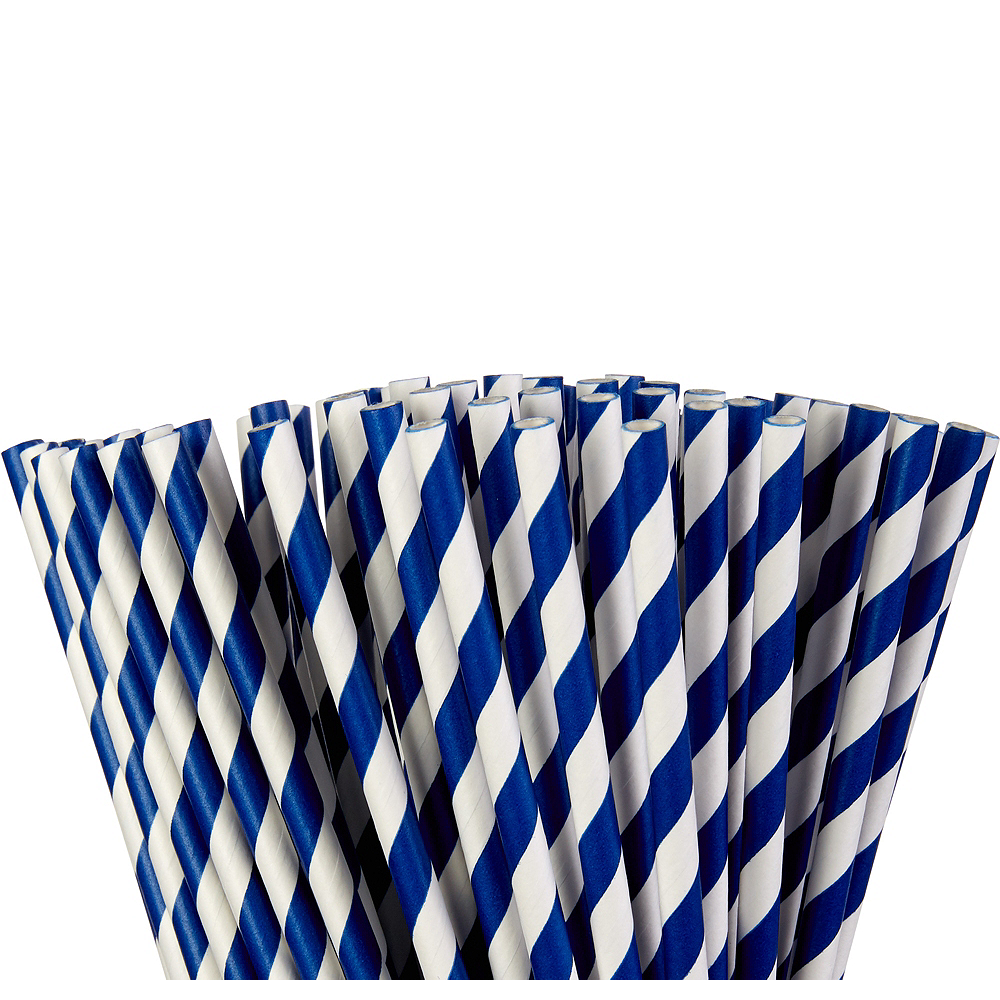 Royal Blue Striped Paper Straws 80ct Image #1