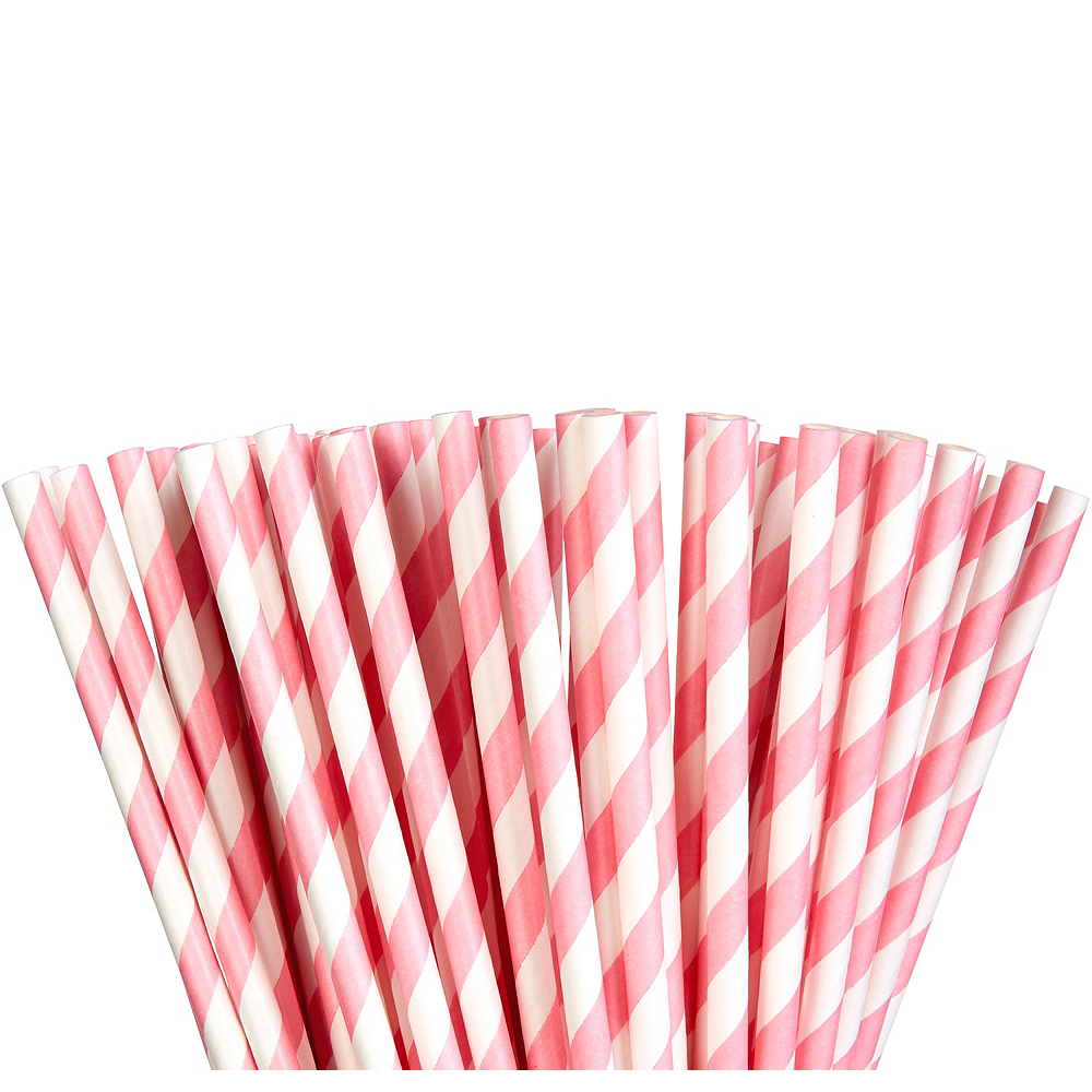Pink Striped Paper Straws 80ct Image #1