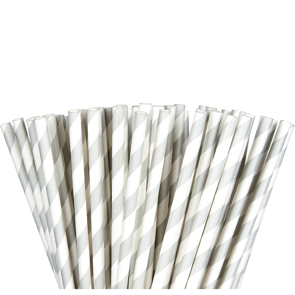 Nav Item for Silver Striped Paper Straws 80ct Image #1