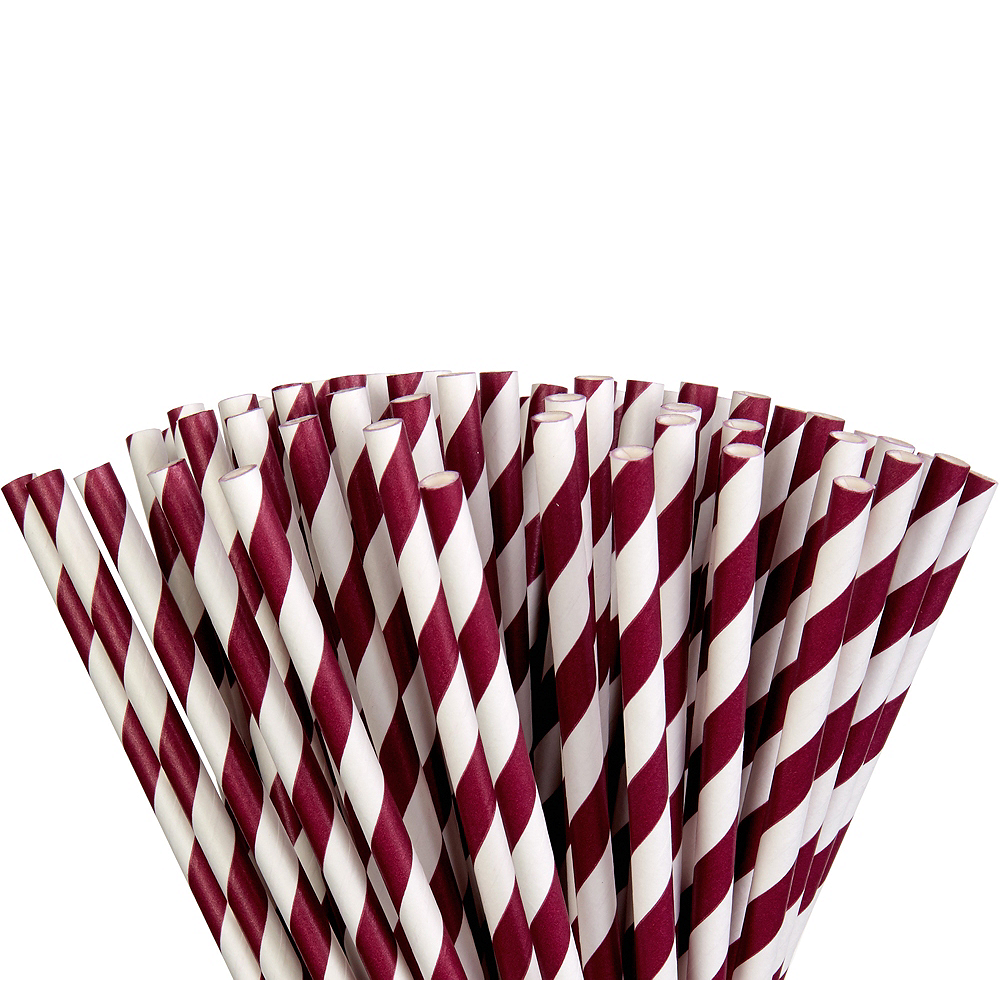 Berry Striped Paper Straws 80ct Image #1