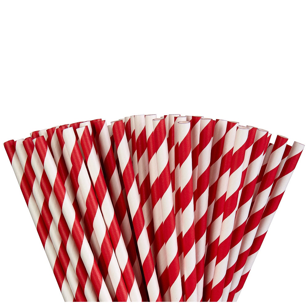 Red Striped Paper Straws 80ct Image #1
