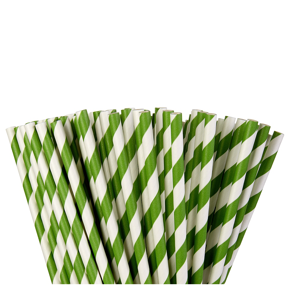 Kiwi Green Striped Paper Straws 80ct Image #1