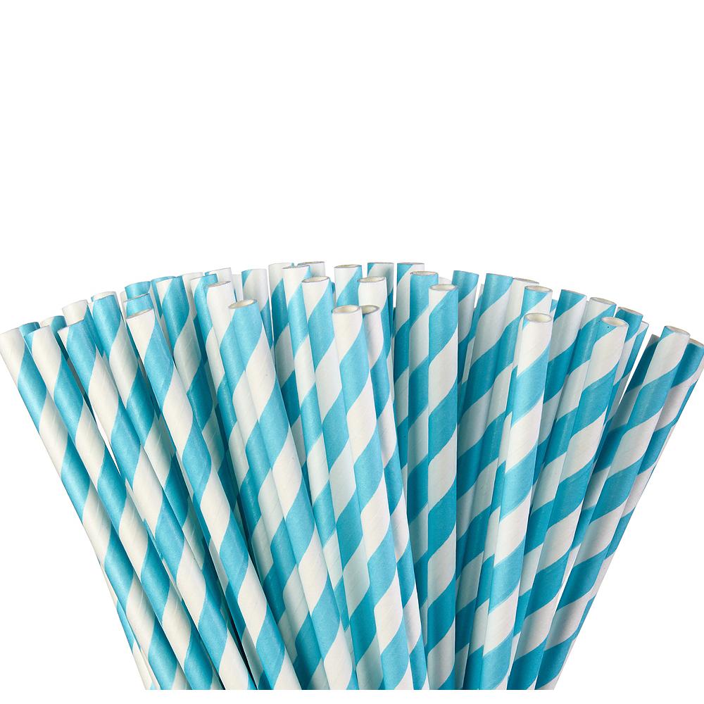 Caribbean Blue Striped Paper Straws 80ct Image #1