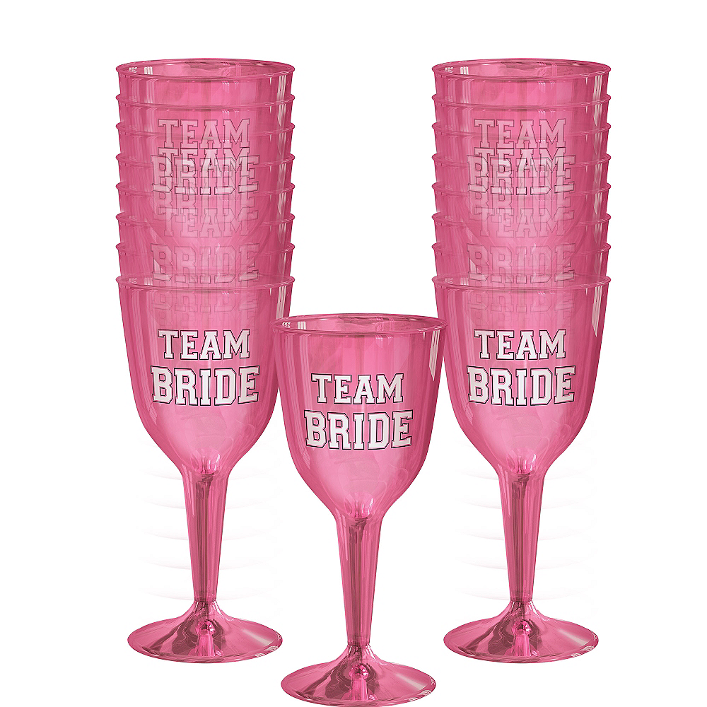 Team Bride Plastic Wine Glasses 16ct | Party City