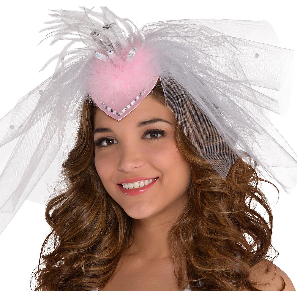 6241dd6c259c8 Nav Item for White Veil Fascinator Headband - Classy Bride Image  1 ...