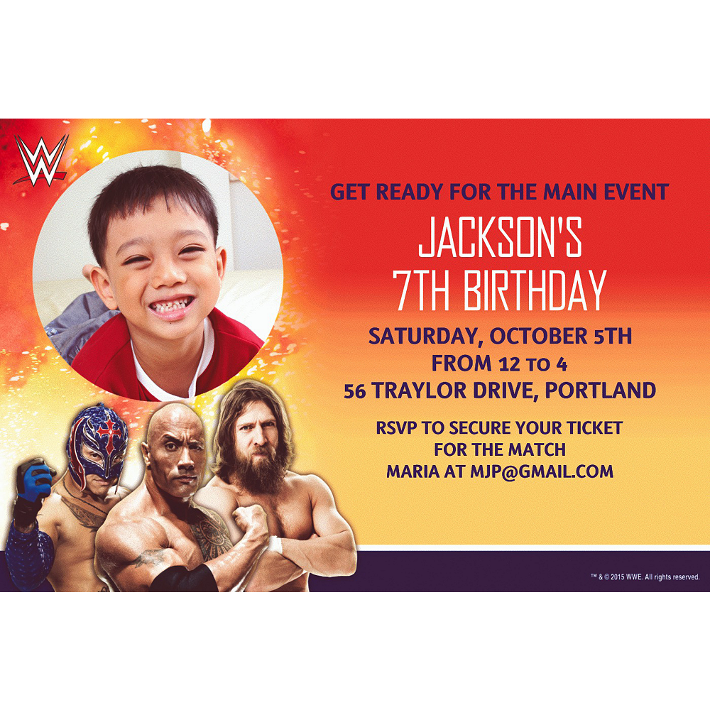 Custom WWE Photo Invitations