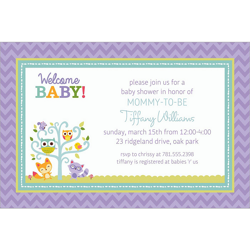 Custom Woodland Welcome Invitations