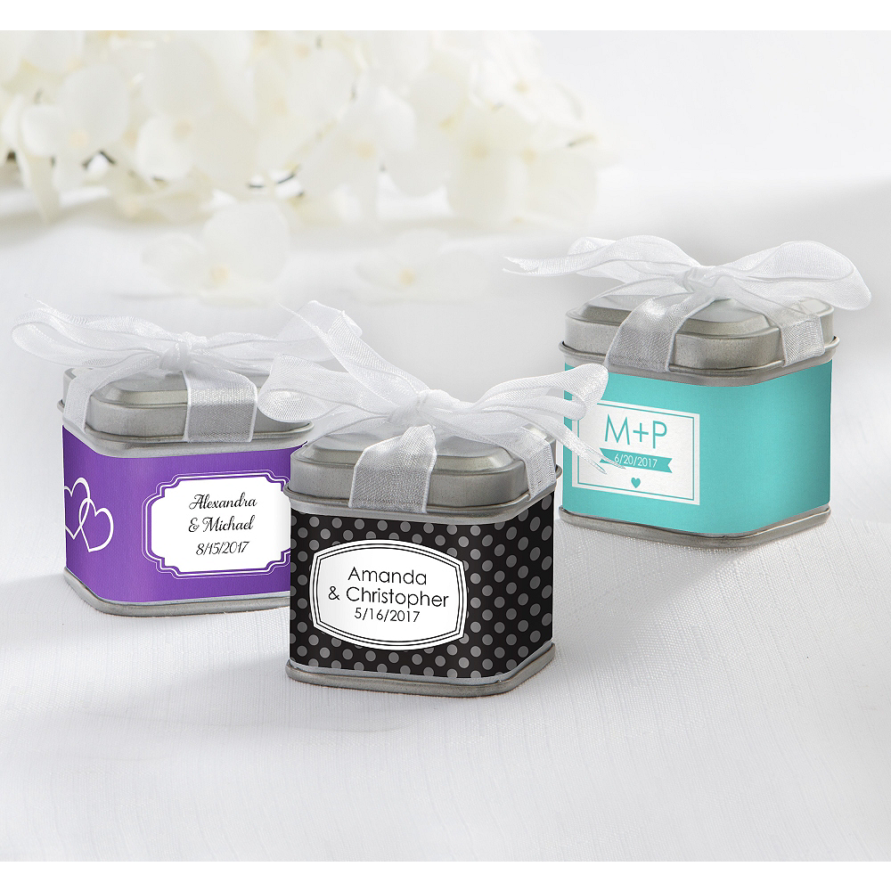 personalized wedding favor tins with bows set of 12 printed label