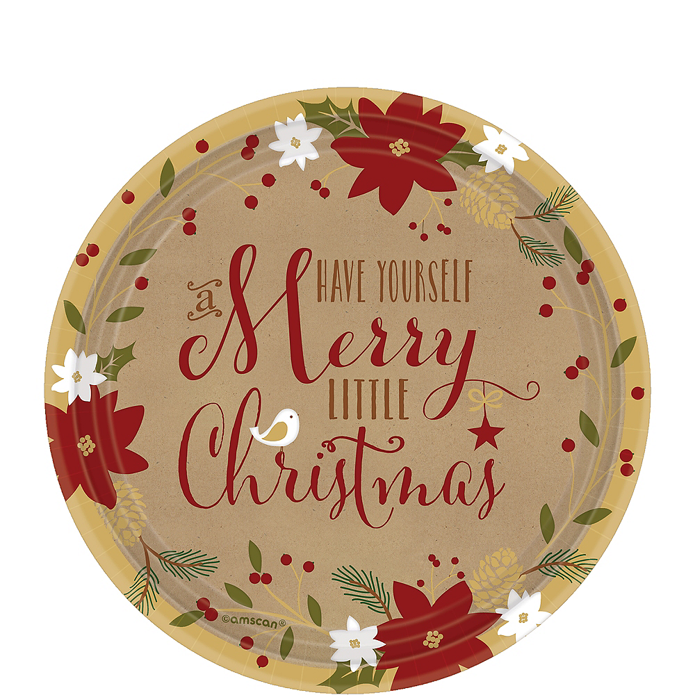 Merry Little Christmas Kraft Dessert Plates 18ct Image #1