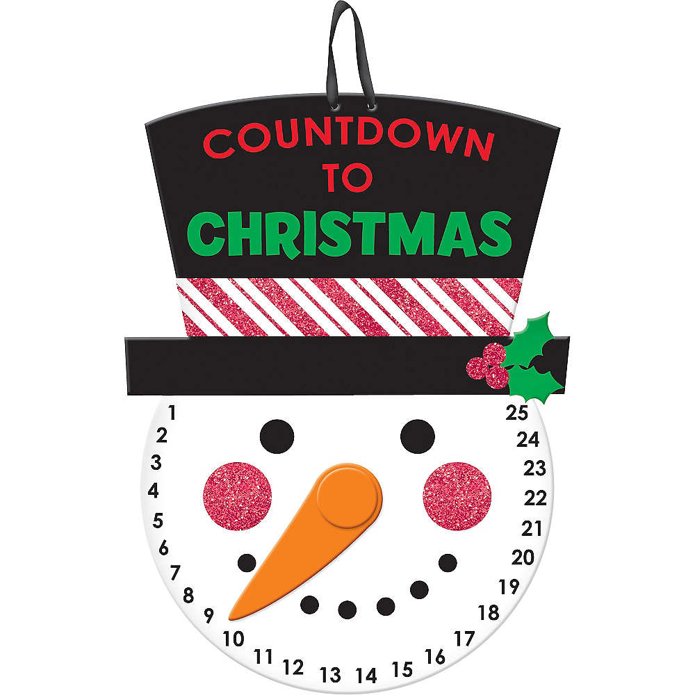 Glitter Snowman Countdown to Christmas Sign Image #1