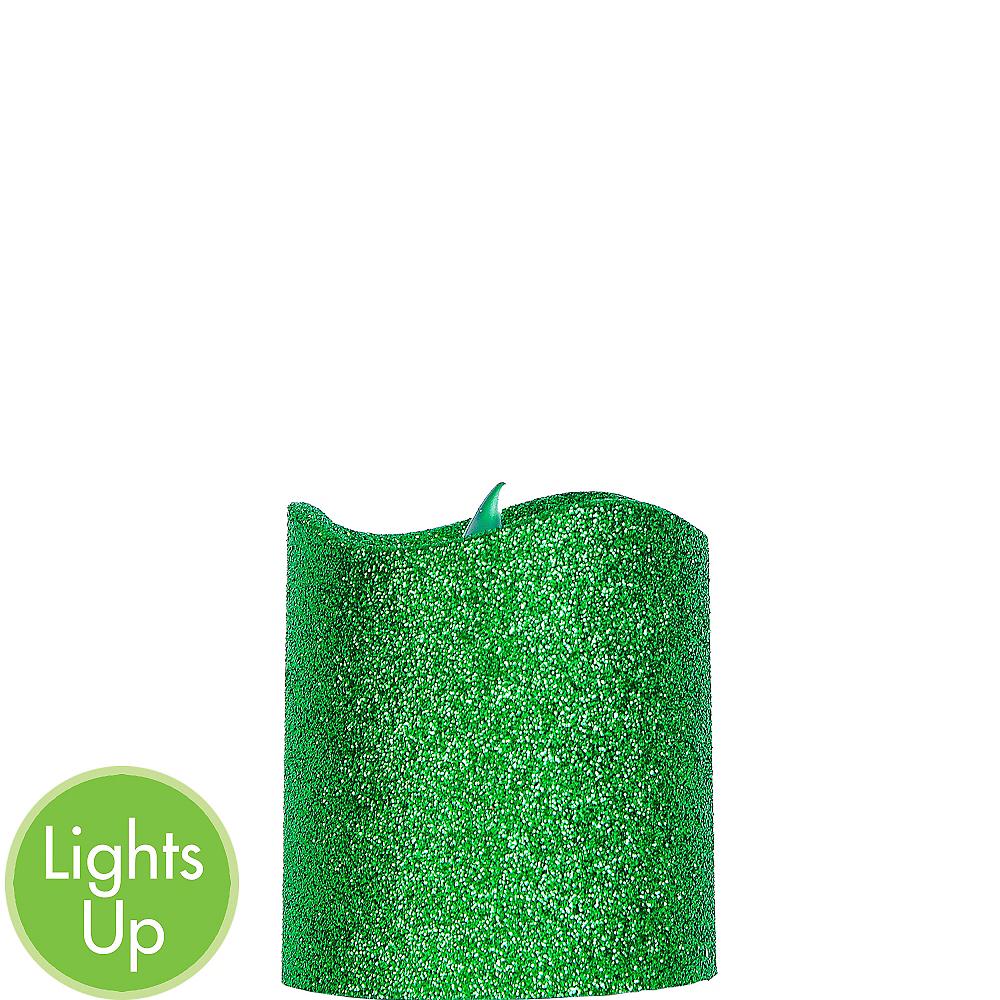 Glitter Green Pillar Flameless LED Candle Image #1