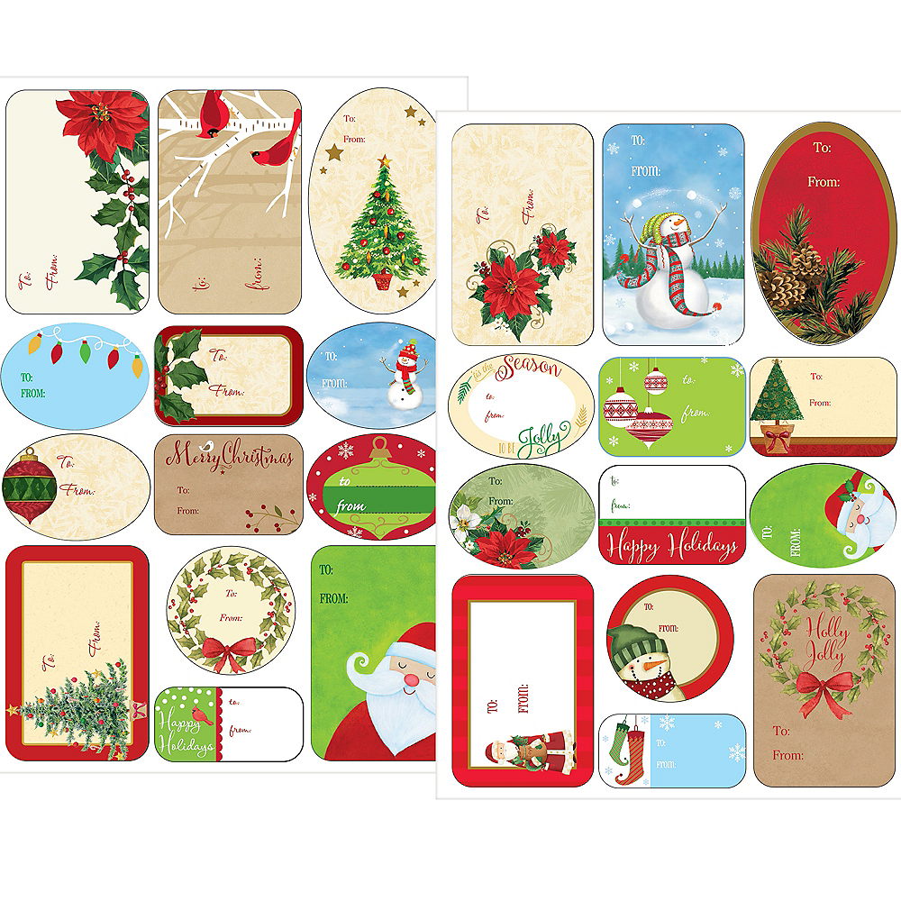 Traditional Christmas Adhesive Gift Tags 156ct Image #1