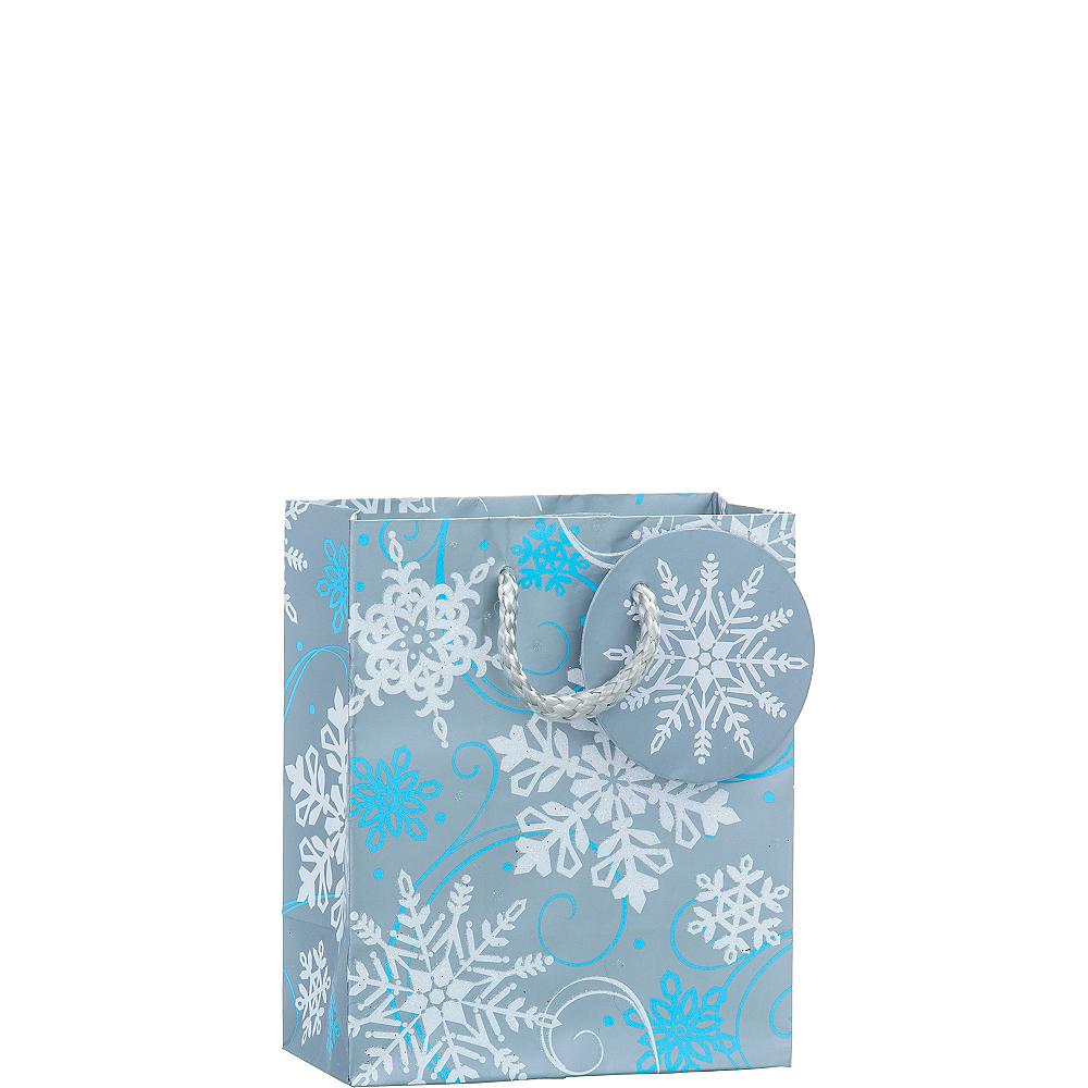 Glitter Silver Snowflake Christmas Gift Bag Image #1