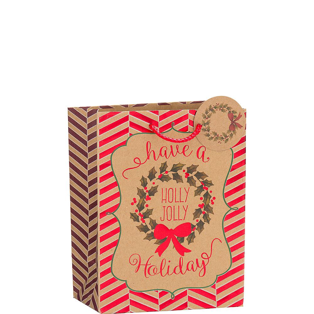 Metallic Holly Jolly Holiday Kraft Christmas Gift Bag Image #1