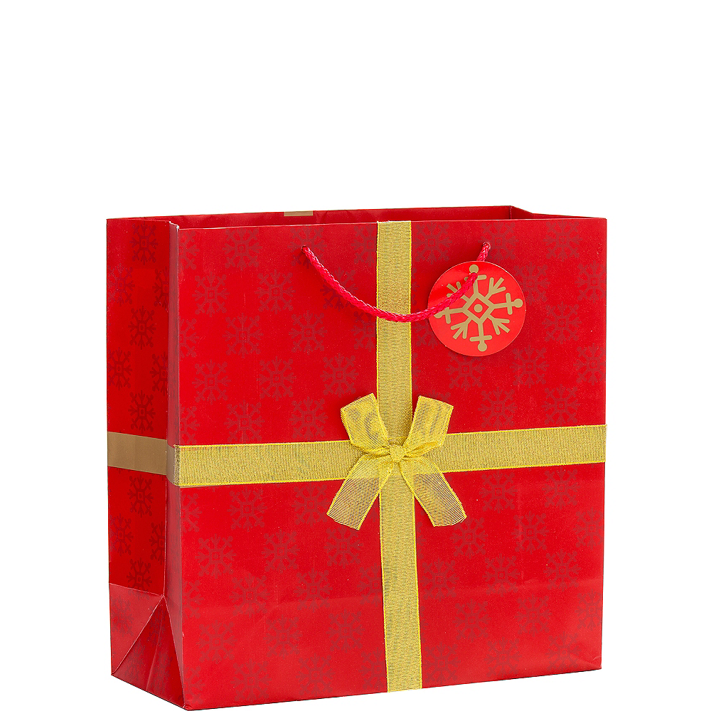 Nav Item for Red & Gold Bow Christmas Gift Bag Image #1