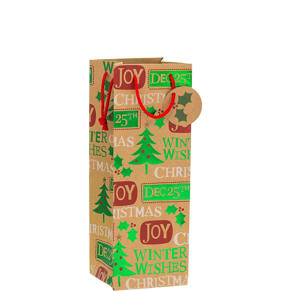 Metallic Christmas Messages Kraft Bottle Bag Image #1
