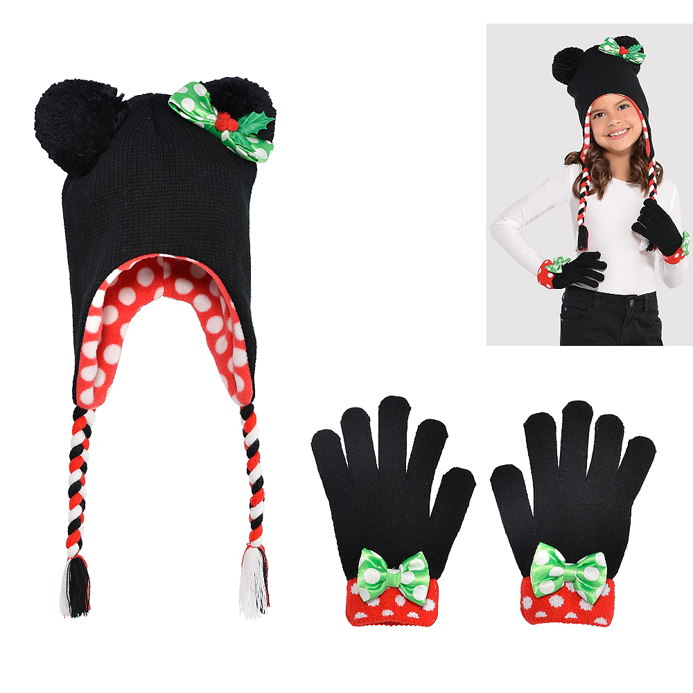 Child Christmas Minnie Mouse Peruvian Hat & Gloves Image #1