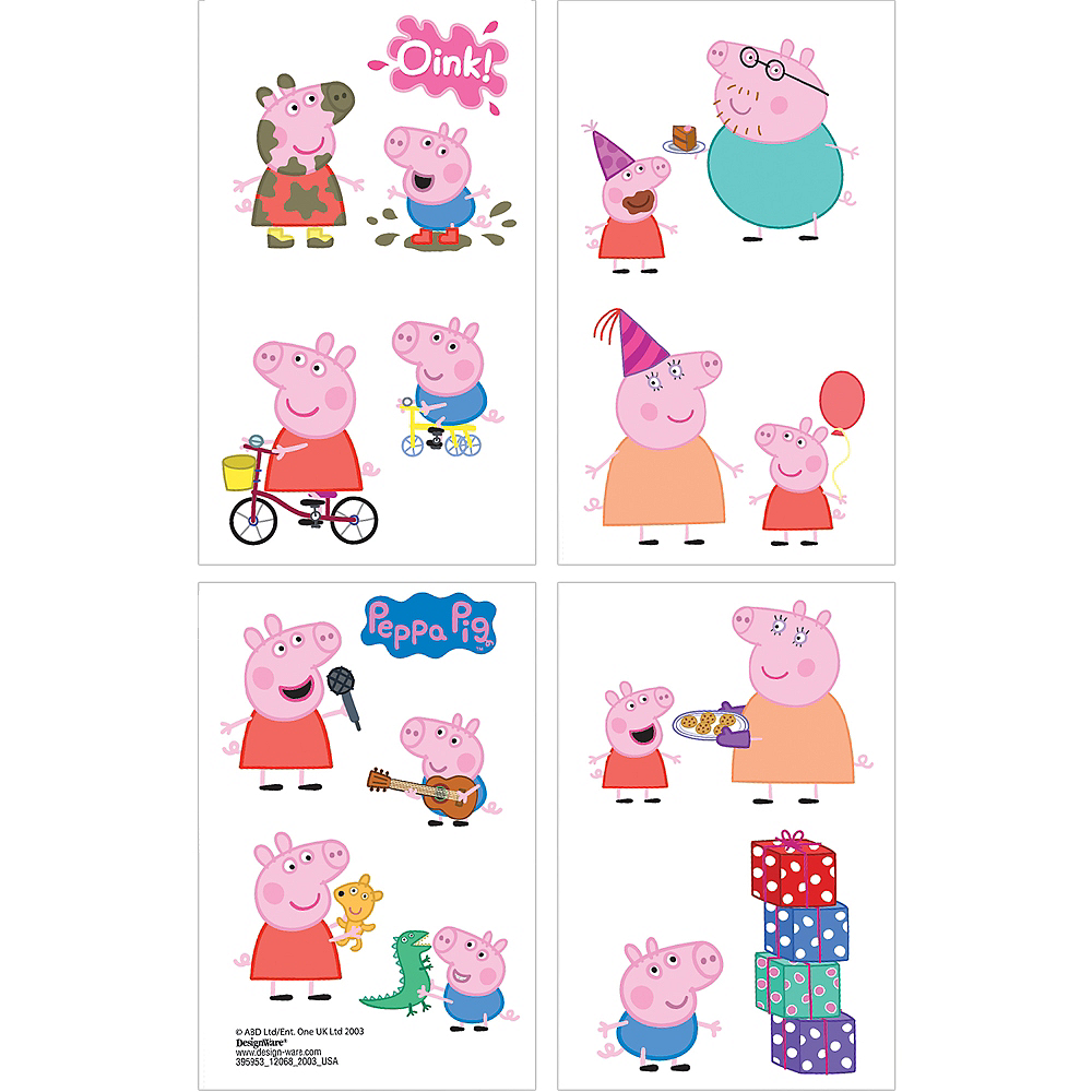 Peppa Pig Tattoos 1 Sheet