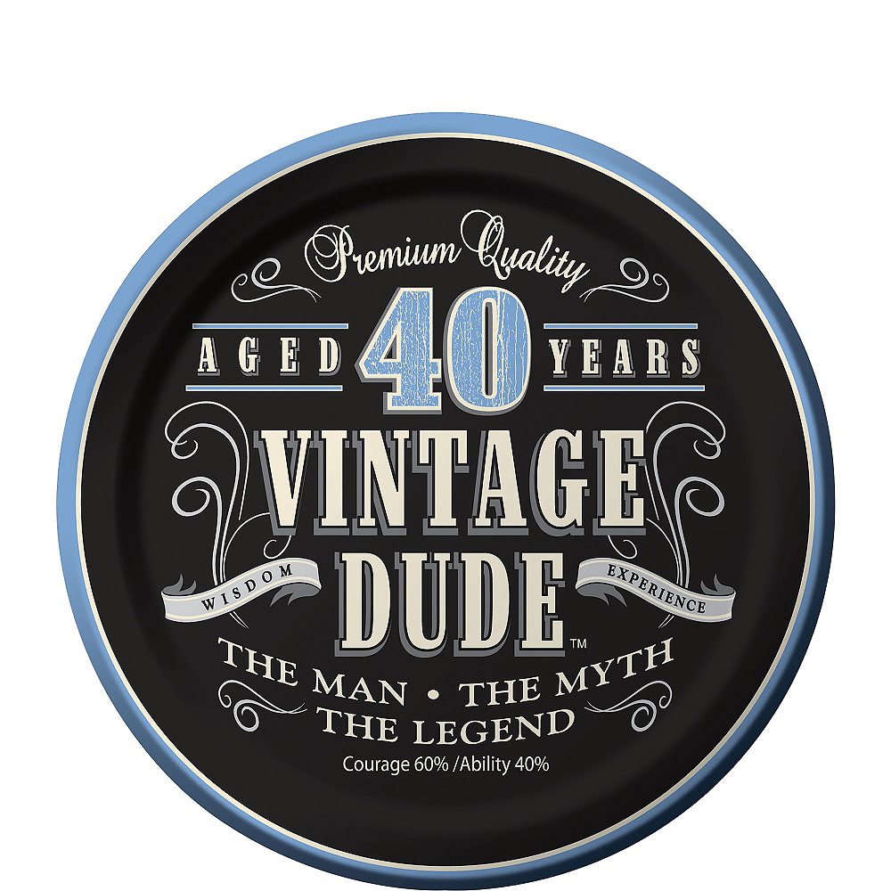 Nav Item for Vintage Dude 40th Birthday Dessert Plates 8ct Image #1
