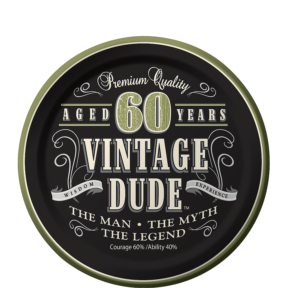 Nav Item for Vintage Dude 60th Birthday Dessert Plates 8ct Image #1