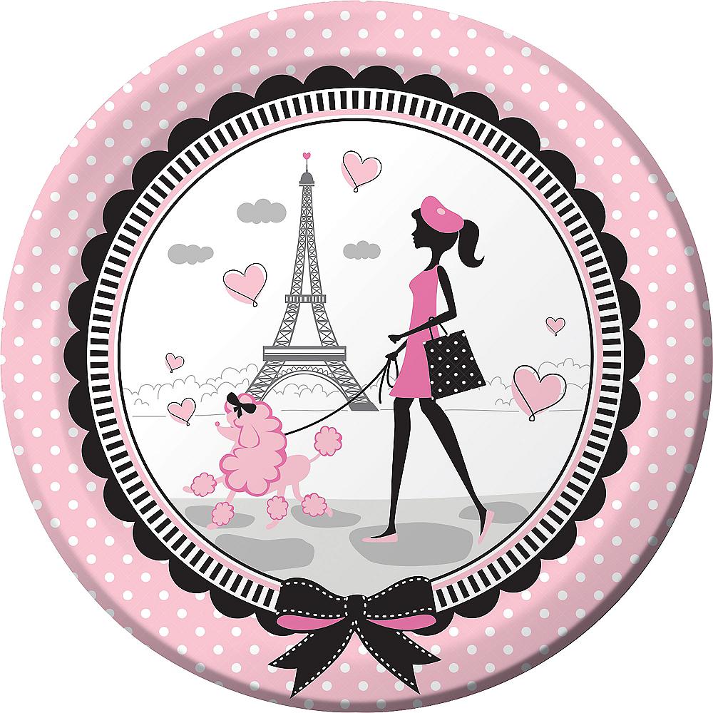 Pink Paris Lunch Plates 8ct Image #1