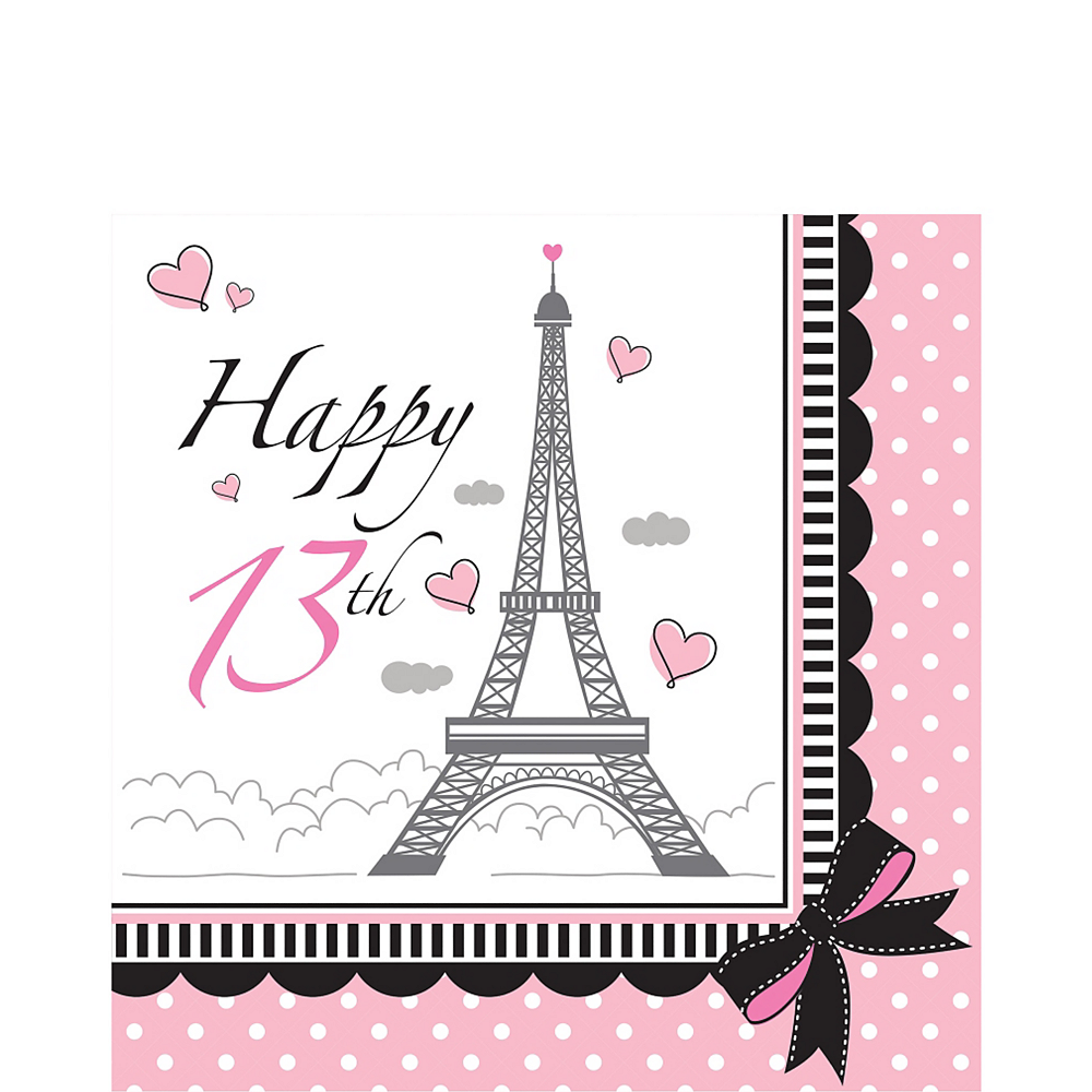 Pink Paris 13th Birthday Lunch Napkins 16ct Image #1