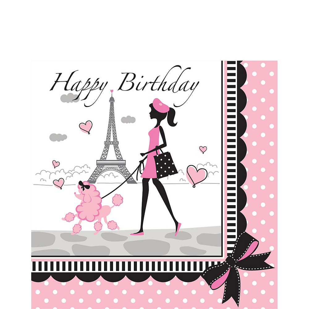 Nav Item for Pink Paris Birthday Lunch Napkins 16ct Image #1