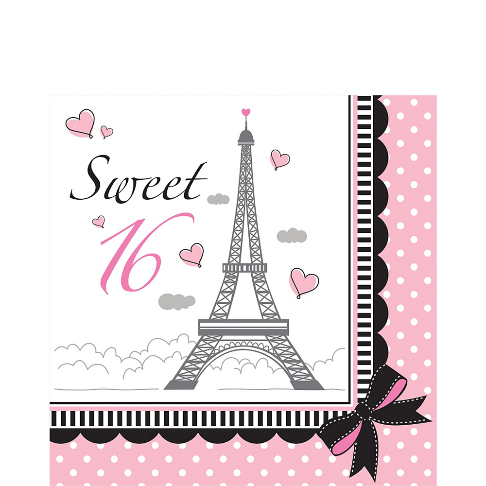 Pink Paris Sweet 16 Lunch Napkins 16ct Image #1