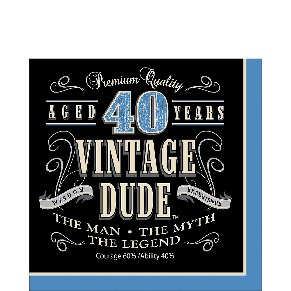 Vintage Dude 40th Birthday Lunch Napkins 16ct Image #1