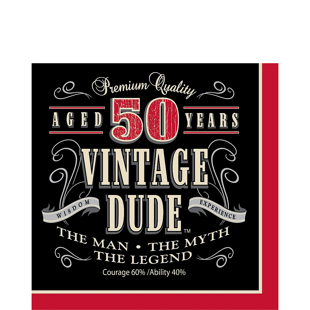 Vintage Dude 50th Birthday Lunch Napkins 16ct Image #1