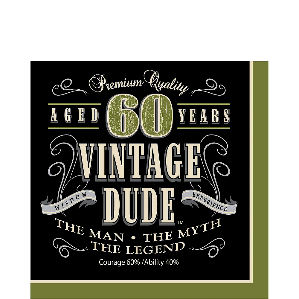 Vintage Dude 60th Birthday Lunch Napkins 16ct Image #1