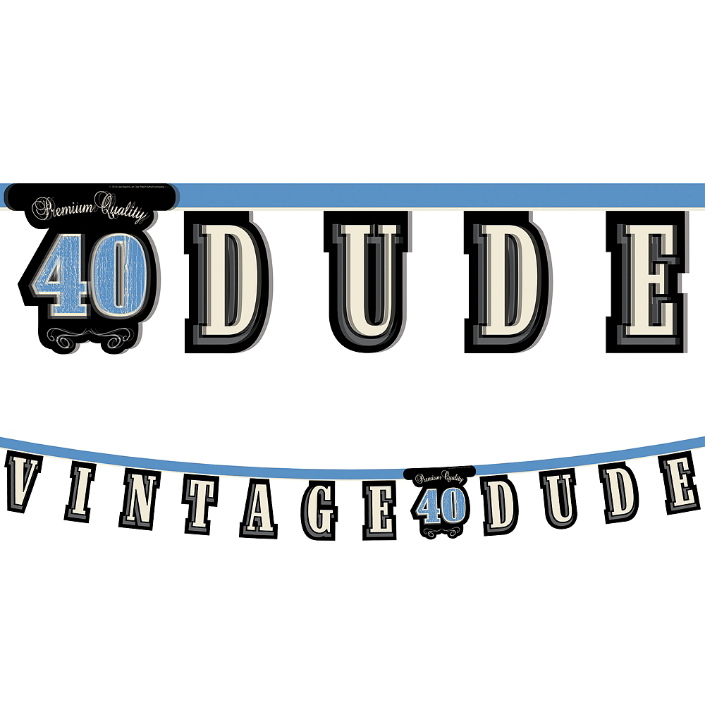 Vintage Dude 40th Birthday Letter Banner Image #1