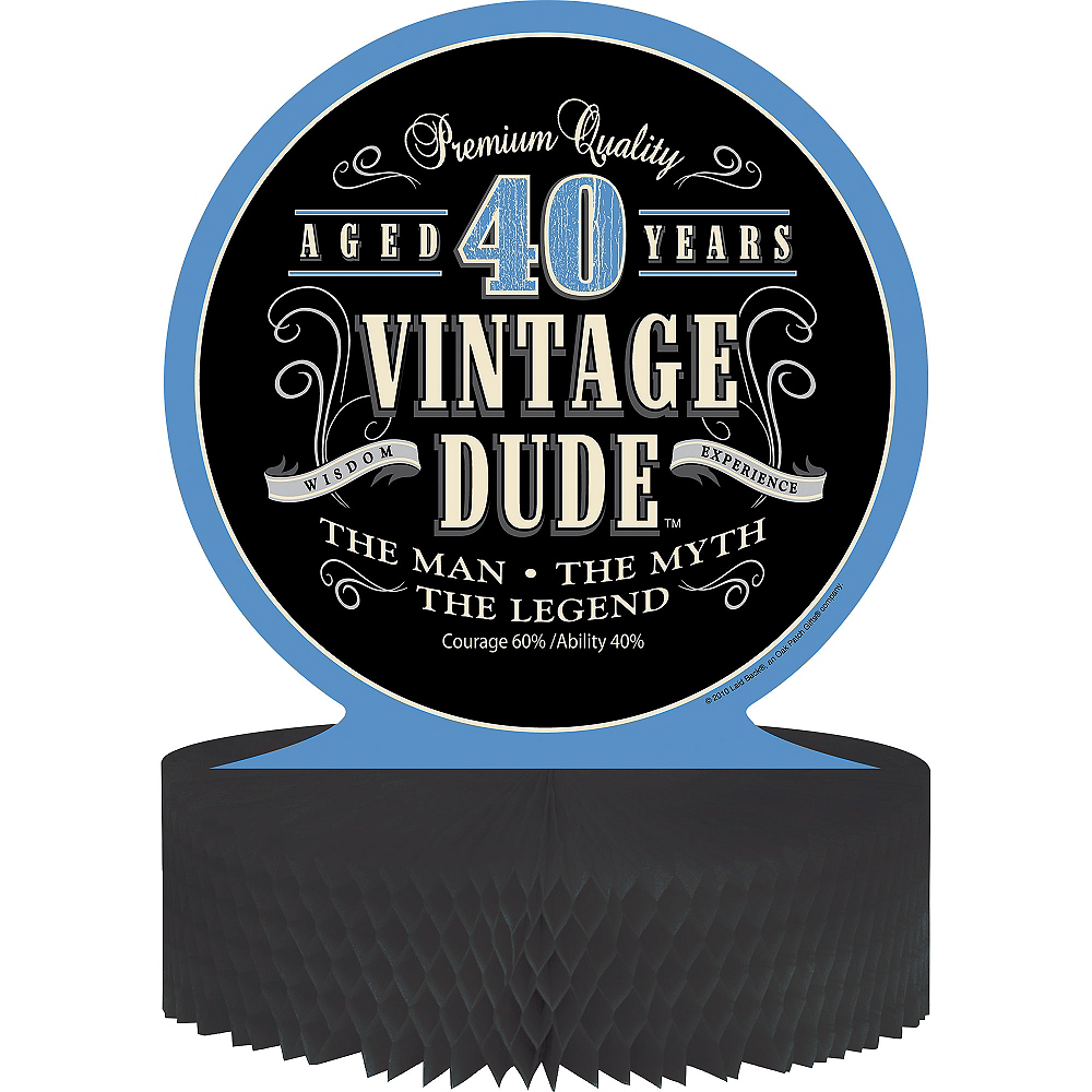 Vintage Dude 40th Birthday Honeycomb Centerpiece Image #1